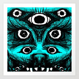 Blue Beast with White Eyes Art Print