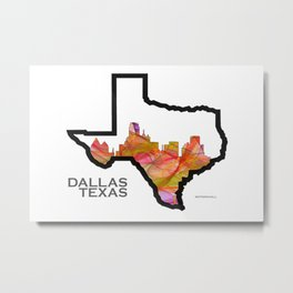 Texas State Map with Dallas Skyline Metal Print