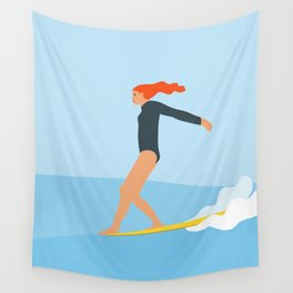 Surfing girl Wall Tapestry