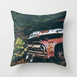 Vintage Trucks in the Woods Throw Pillow