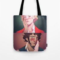 beauty and the beast Tote Bags featuring Beauty and the Beast by Marta Milczarek