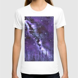 """Purple & Payne's Grey Milky Way Galaxy"" watercolor landscape painting T-shirt"