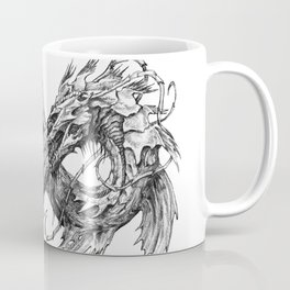 Ouroboros mythical snake on transparent background   Pencil Art, Black and White Coffee Mug