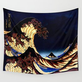 The GREAT Wave Midnight Blue Brown Wall Tapestry
