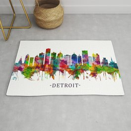 Detroit Michigan Skyline Rug