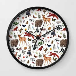 Wild Woodland Animals Wall Clock