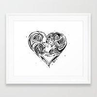 ferret Framed Art Prints featuring Ferret Love by Mel Hampson
