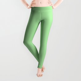 From The Crayon Box – Granny Smith Apple Green - Pastel Green Solid Color Leggings