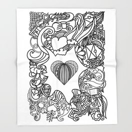 love and doodles Throw Blanket