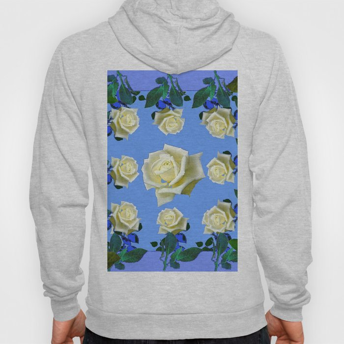 WHITE ROSES BLUE GREEN GARDEN DESIGN PATTERN Hoody