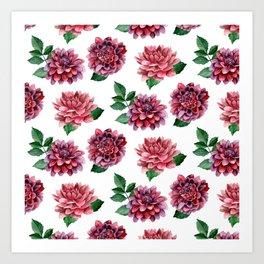 Dahlia Watercolor flowers Red floral pattern Gift for her Botanical art Сhrysanthemum Art Print