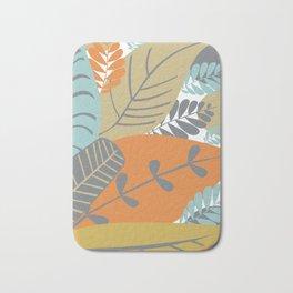 Bright Tropical Leaf Retro Mid Century Modern Bath Mat