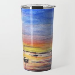 Beautiful Sunset Watercolor Painting Travel Mug