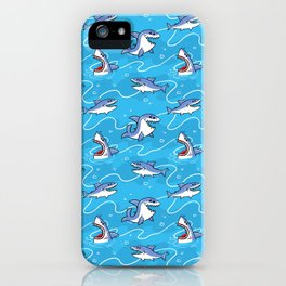Cartoon Great White Sharks iPhone Case