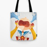 sailormoon Tote Bags featuring Crying Sailor Moon by Claudio Bandoli