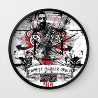 zombie Wall Clocks featuring Zombie by DaeSyne Artworks