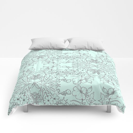 Dotted Floral Scroll in Mint and Grey Comforters