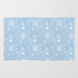 Snowflakes (white & light blue) Rug
