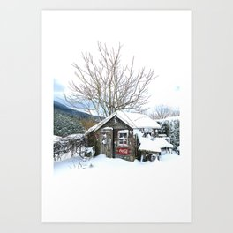 Rustic Shed Snowday Art Print