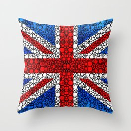 British Flag - Brittain England Stone Rock'd Art Throw Pillow