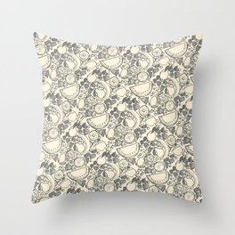 Fruit Print Vintage Throw Pillow