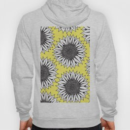 Yellow Sunflower in Black and White Hand Drawing Hoody