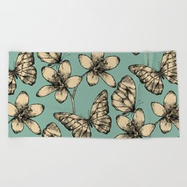 Butterflies and Flowers Beach Towel