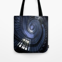 Blue spiral staircase Tote Bag