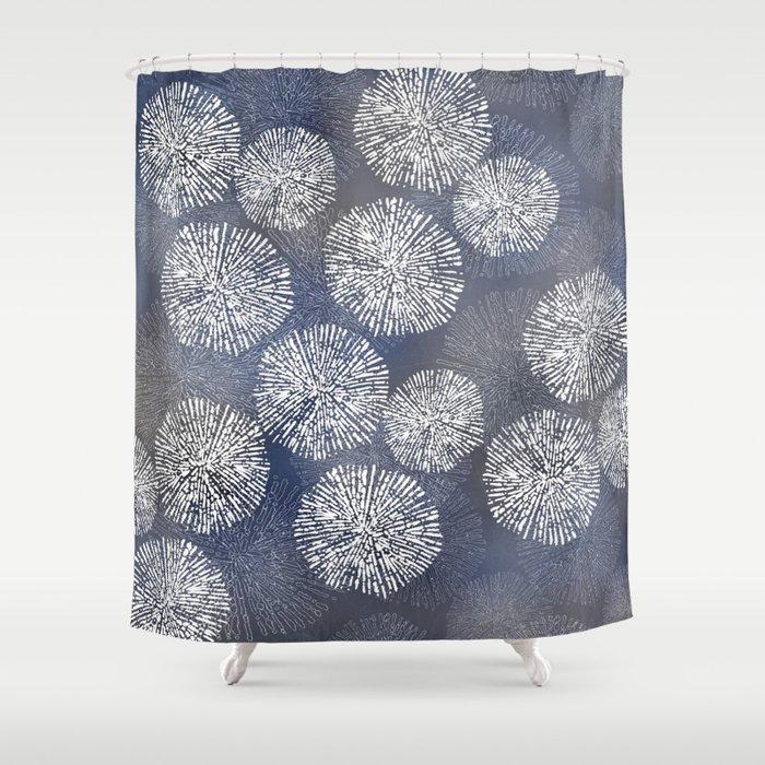 Denim Blue Shibori Sea Urchin Burst Pattern Shower Curtain