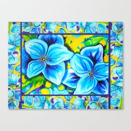 Blue Poppies 3 with Border Canvas Print