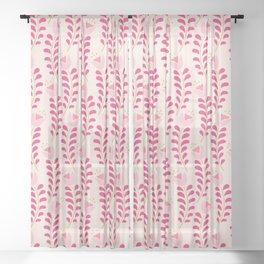 Spring flower pattern in pastel pink color palette Sheer Curtain
