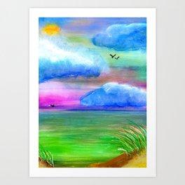 Summer Beach Landscape Art Print