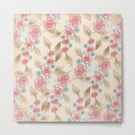 Vintage Floral Pattern (Color) Metal Print