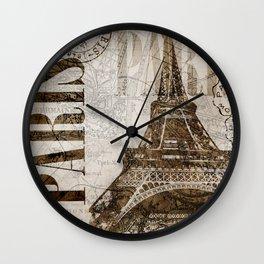 Vintage Paris eiffel tower illustration Wall Clock