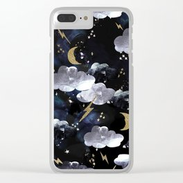 Cosmic lightning Clear iPhone Case