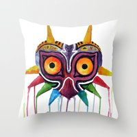majoras mask Throw Pillows featuring majoras mask by Haily Melendez