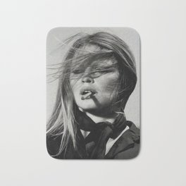 Brigitte Bardot Smoking a Cigarette, Black and White Photograph Bath Mat