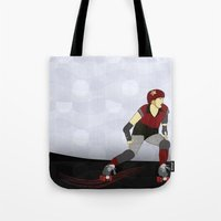 roller derby Tote Bags featuring Roller Derby by Aquamarine Studio