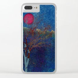 Abstract watercolor landscape with tree Clear iPhone Case