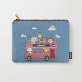 Kawaii Cute Zoo Animals On A London Bus Carry-All Pouch