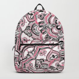 Magical Mandala in Monochrome + Pink Backpack