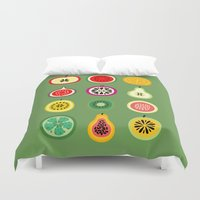 vector Duvet Covers featuring Banca de Frutas by Marcelo Romero