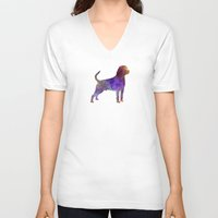 rottweiler V-neck T-shirts featuring Rottweiler in watercolor by Paulrommer