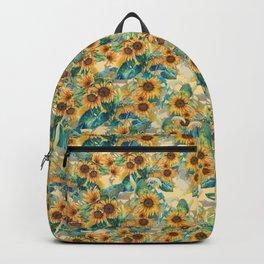 watercolor sun flowers garden Backpack