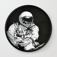 spaceman Wall Clocks featuring Spaceman by Bri Jacobs