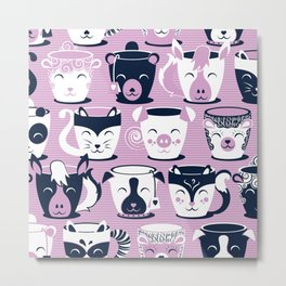 Cuddly Tea Time // white navy & light orchid pink animal mugs Metal Print