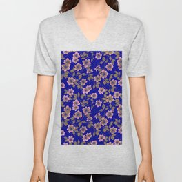 Abstract blush pink brown sky blue flowers Unisex V-Neck
