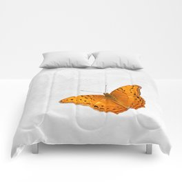Butterfly and ghost on textured white Comforters