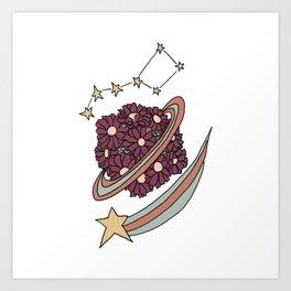Daisy Planet and Shooting Stars Galaxy Design Art Print