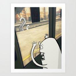 Monsters at railroad Art Print